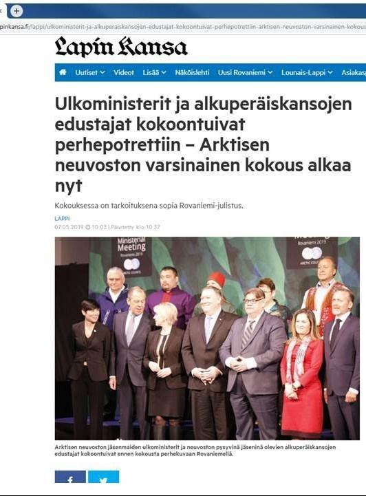 Lapin Kansa 7.5.2019. Bild på arktiska rådet